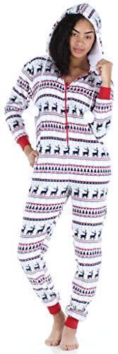 Frankie & Johnny Damen Super-Soft vlies Overall mit Fell, aus Einem Stück Homewear, Hirsch Fairisle (FJ1171-1084-EU-XL)
