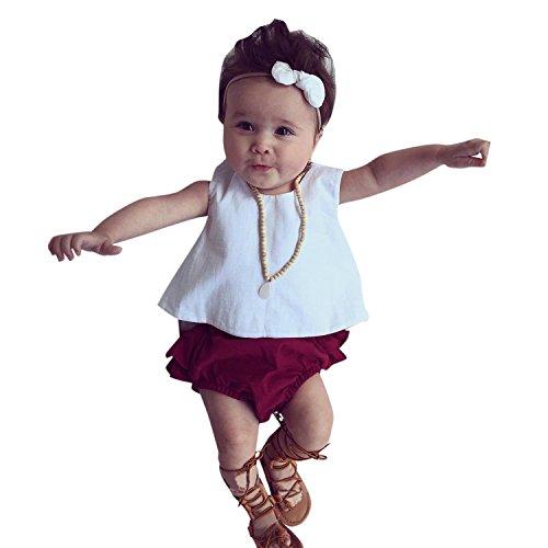 YASSON 3 Pcs Baby Mädchen Bekleidungsset Sommer Ärmellos Einfarbig Wickeloptik Tanktop Bowknot Stirband Rüschen Unterteil Babykleidung