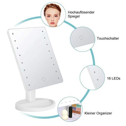 KYG Schminkspiegel mit 16 LEDs Beleuchtung, USB Wiederaufladbarer Kosmetikspiegel,  batteriebetrieber Tischspiegel, dimmbarer Make up Spiegel Standspiegel, Weiß - 3