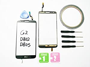 JRLinco Neu Display Scheibe Touchscreen Digitizer Glass Ersatz Für LG G2 D802 D805 schwarz + Werkzeug & klebende +Cleaning alcohol Wiping package