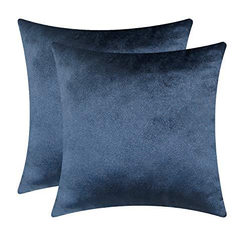 Fitows Kissenbezug Samt 45 x 45 cm Sofakissen Set Dekorative Kissenhülle für Sofa Bett Schlafzimmer Weiche Solid Kord Zierkissenbezug Dunkelblau 2er-Pack (Sofas Bett)