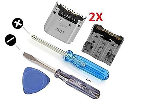 2 x Dock Connector Ladebuchse Lade Port Power Anschluss Jack Fassung Mikro USB für Samsung Galaxy Tab 3 7,0 Inch SM-T210 T211 inkl. 2 x Schraubenzieher und Plektrum für einfachen
