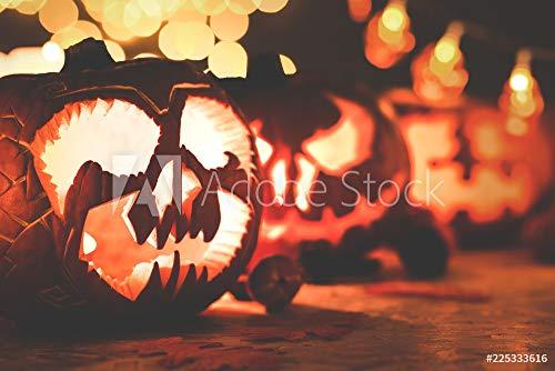 druck-shop24 Wunschmotiv: Closeup of Scary face Carved Pumpkin for Halloween #225333616 - Bild als Klebe-Folie - 3:2-60 x 40 cm / 40 x 60 cm