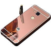 Vandot Duro Híbrido Carcasa para Huawei G8 / G7 Plus / Maimang 4 (No para G7) Premium Bumper Case del Metal Aluminio + PC Ultrafina Espejo Protective Trasero Funda Cover - Oro Rosa / Rosado