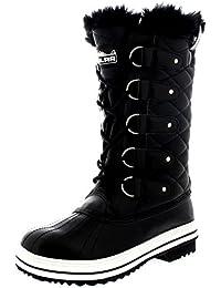 Femmes Matelassé Pluie Lacer Fourrure Chaleureux Chaussures Neige Botte
