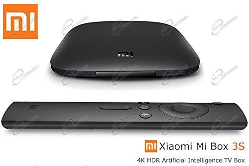Xiaomi Mi Box 3s 4k è Lettore Multimediale per Netflix e Youtube, Google Cast, Versione Int, Telecomando con Comandi Vocali