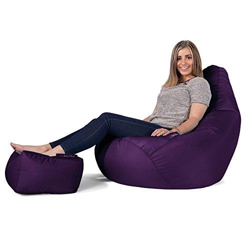 Big Bertha Original, Gaming Sitzsack Sessel Mit Passendem Hocker, Pflaume