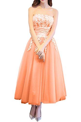 Promgirl House Damen Hochwertig Traegerlos ALinie Spitze Abendkleider  Ballkleider Cocktailkleider Wadenlang Orange 1871910ade