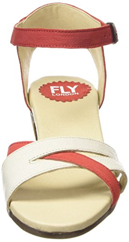 FLY London Saiz676fly, Sandales Bride cheville femme Multicolore - Mehrfarbig (SCARLET/OFFWHITE 002)