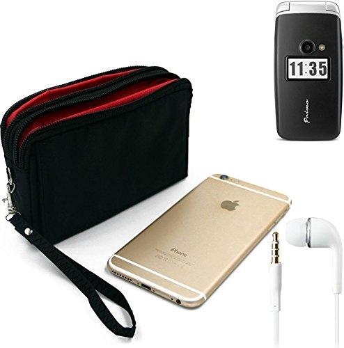 K-S-Trade TOP Set für Doro Primo 413 Gürteltasche schwarz + Kopfhörer Travel Bag Travel-Case mit Diebstahlschutz praktische Schutz-Hülle Schutz Tasche Outdoor-case für Doro Primo 413