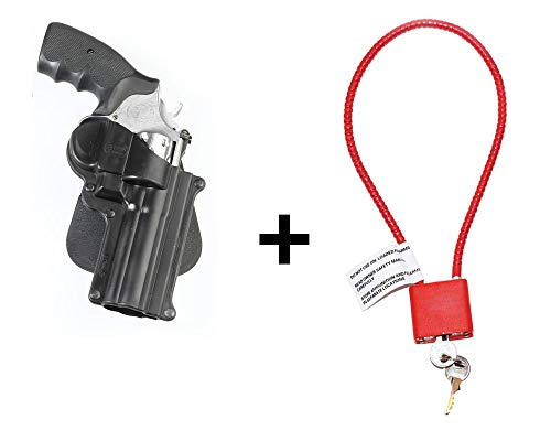 S&W Magnum Holster & Cable Gun Lock, Fobus Tactical Retention Paddle Holster for Smith & Wesson L&K Frame 4inch Barrel, 686 6-shot & 7-shot cylinders, .44 Magnum 5-shot only (Airsoft Shotgun-holster)