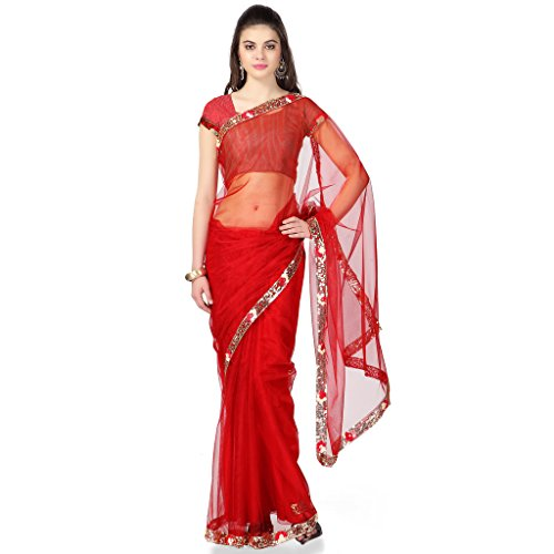 Janasya women's Maroon Net Saree with Floral Border (JNE0397)  available at amazon for Rs.359