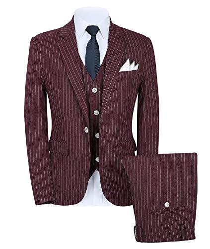 YYI Herren Streifen 3 Stück Anzug Hochzeit Abendessen Smoking Anzüge für Männer Business Jacke Weste & Hose 4 Farben erhältlich -