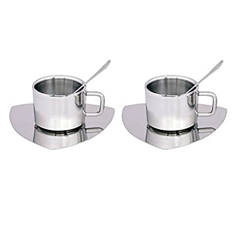 Kosma Set of 6pc Stainless Steel Double wall Coffee Cup | Espresso | Tea Cup 100ml with Triangular Saucer & Tea Spoons (2 Cups, 2 Saucer, 2