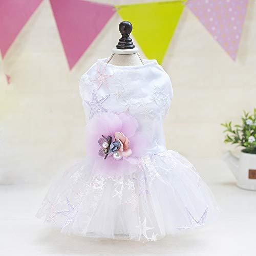 CYULING Hund Tutu Rock, Kleiner Hund Brautkleider Prinzessin Rock Haustier Hund Plissee Camisole Tutu Kleid Blume Lace White Pet Kleidung für Hund Kleid Hochzeitskleid,L -
