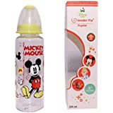 Kidzvilla 250 Ml 100% Bpa Free Mickey Mouse Crystal Baby Feeding Bottle. Pack Of 2