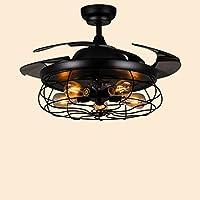 LAMP® Stealth Fan Lamp Home Schlafzimmer Industrial Retro Deckenventilator  Restaurant Mit LED Wohnzimmer Lüfter