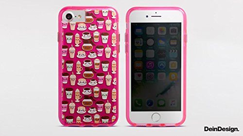 Apple iPhone 7 Bumper Hülle Bumper Case Glitzer Hülle Vogel Bird Fliegen Bumper Case transparent pink