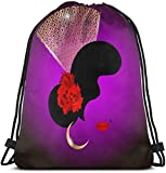 Beautiful Portrait Spanish Woman Silhouette Whit Red Rose Flowers and Traditional Spanish Comb, Golden Peineta Packable Sport Gym Drawstring Sackpack Backpack Bag For Men,Women