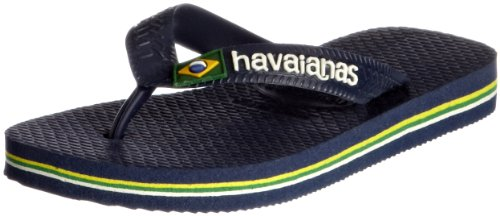 Havaianas Flip Flops - Havaianas Brasil Logo Flip Flops - Navy Blue