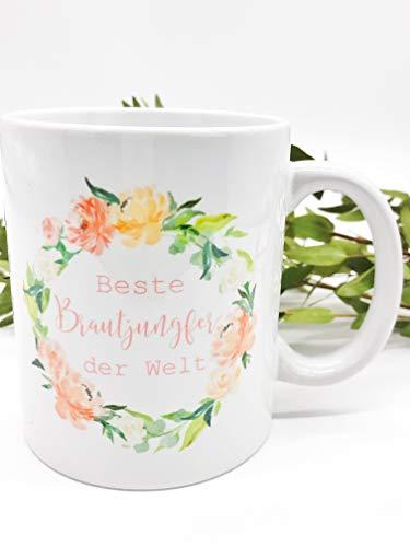 Great Stuff Tasse Hochzeit Beste Brautjungfer der Welt bunt Blumenkranz Bridesmaid Blüten Beste Freundin BFF Geschenk Idee Hochzeit (Brautjungfer Geschenke Ideen)