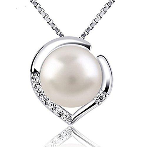 Aiaimei perla d'acqua dolce collane argento 925 donna collana da donna collana da donna a cuore in argento per donne collane con pendente in argento sterling 925