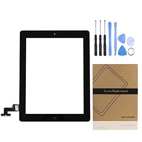 Acquisto universale (TM) iPad touch screen digitizer pannello frontale obiettivo di vetro esterno riparazione di ricambio per Apple iPad 2Gen nero Black iPad 2 Touch Panel with Home