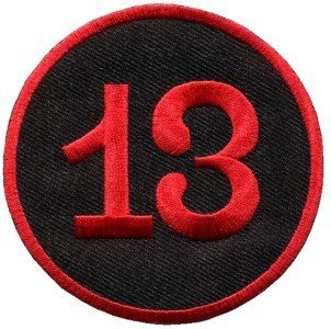 Lucky 13 Thirteen Biker Retro Emo Punk Rockabilly Appliques Hat Cap Polo Backpack Clothing Jacket Shirt DIY Embroidered Iron On / Sew On Patch #5 by BKKPatch