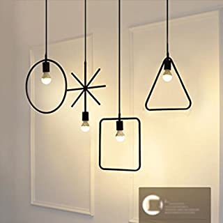 Nordic Minimalist Creative Chandelier Wrought Iron Bar Restaurant Personality Single Head Lamp Living Room Bedroom Decorative Lamps Lostgaming (color : A+B+D+E)