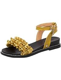 VENMO Frauen Fashion Solid Flower Haspe Runde Toe Slope Heel Sandalen Strand Schuhe Flach Sandalen Bohemian Sandals...