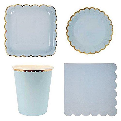 Farbe Party Geschirr, Einweg Papier Geschirr-Set für Geburtstag Hochzeit Decor (8rund Gerichte, 8quadratisch Gerichte, 8Pappbecher, 20Papier Servietten) hellblau
