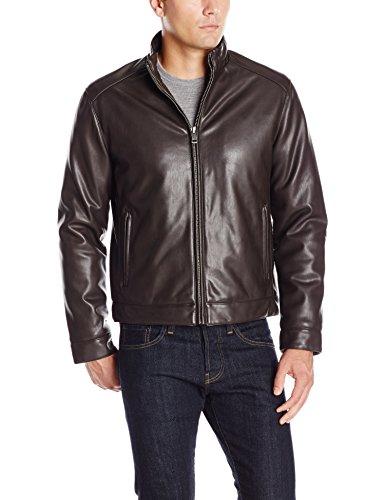 Cole Haan Signature Herren Moto Jacke mit Reißverschluss vorne, Kunstleder - Braun - XX-Large (Jacke Braun Kunstleder Moto)