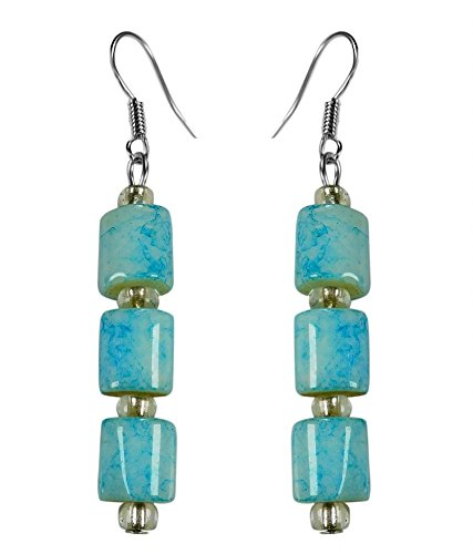 CRYSTAL & BEADS Turquoise Blue Colour Drum Bead & White Colour Crystal Earring