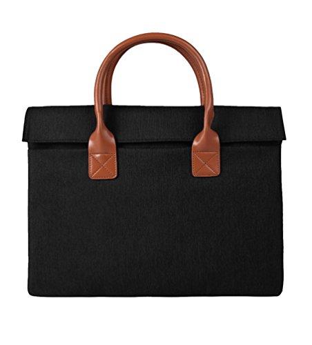 Yuncai Notebooktasche Apple Macbook Mode Einfach Laptop Handtasche Tragbar Aktentasche Schwarz One Size(13/14/15 Inch)