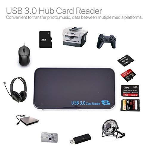 Kartenleser USB 3.0 CF-, SD/MS/XD/TF/M2 Kartenlesegerät mit USB Kabel für Windows PC Mac Handy Laptop TV schwarz