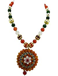 PCM Gold Plated Studded Traditional Necklace Set Earrings Jewellery For Women