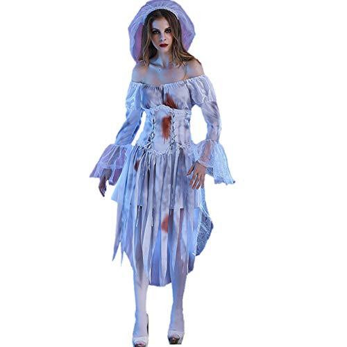 Kostüm Damen, Halloween Ghost Bride Cosplay Kleid Mit Kopfbedeckung, Karneval Horror Zombie Game Show Kostüm Damen,XL -