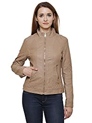 MansiCollections Beige Leatherite Jacket for Women