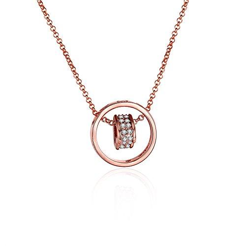 Tphui Frauen Schmuck Halskette Gold Schmuck Halskette 18k rose Gold Halskette Kugelschreiber Halskette Schmuck Kristall Crystal Zirkonia