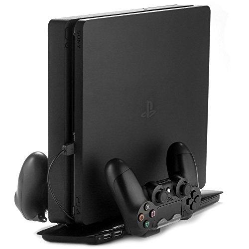 REYTID] PS4 Slim 4 in 1 Stehen, vertikale Dual Cooling Pad, Dual-Controller-Ladestation, 2 USB-Hub-Ports - Black - Laden Station Kühler Wireless-Pads - Playstation-Konsole Fan