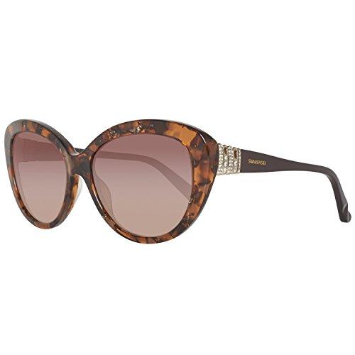 Swarovski Damen SK0112-5855F Sonnenbrille, Braun (Coloured Havana), 58