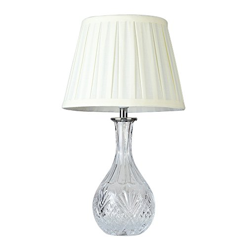 Modern Clear Glass Bedside Table Lamp with a Cream Pleated Tapered Shade