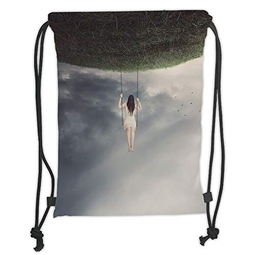 LULUZXOA Gym Bag Printed Drawstring Sack Backpacks Bags,Surrealistic,Upside Down World of A Sad Woman on The Swing Depression Picture Decorative,Purple Grey Reseda Green Soft Satin Depression Candy