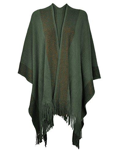 ZLYC Damen Weiche Schlichte Poncho Capes Retro Cardigans Pullover, Armee-grün, Einheitsgröße
