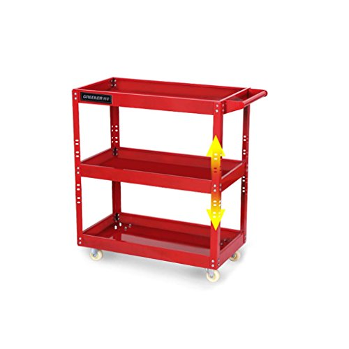 YXQ- * Trolley - Multifunktions-Teile Auto-Reparatur-Werkzeuge Mobile Racks Auto-Reparatur-Reparatur-Tool Auto DREI-Tier Regal (Farbe : Rot)