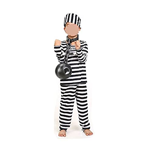 GEXING Halloween Vêtements De Prisonnier Les Hommes Et Les Femmes Adultes Enfants Vêtements De Performance Théâtre Costumes De Performance,A-120-130CM