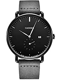 CADISEN Relojes para Hombre Minimalista Moda Negro Relojes Impermeable  Calendario Negocios Casual Hombre Muñequeras con Correa 2262d7d27bfb