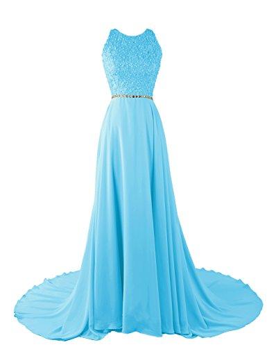 Dressystar Robe femme, Robe de soirée/ Cérémonie longue, à fleur, perlée, en Mousseline Bleu