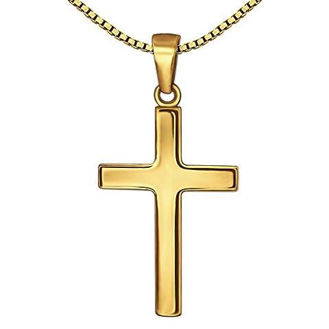 CLEVER SCHMUCK Goldener Anhänger Kreuz 21 mm schlicht glänzend 375 GOLD 9 KARAT mit vergoldeter Kette Venezia 42 cm im Etui