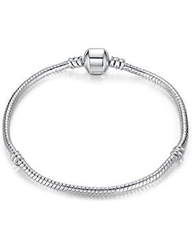 Presentski Silber Anhänger Charm Armband Schlangenkette für Mädchen Frauen Geburtstag 18 20cm / 7,08 7,88 Zoll